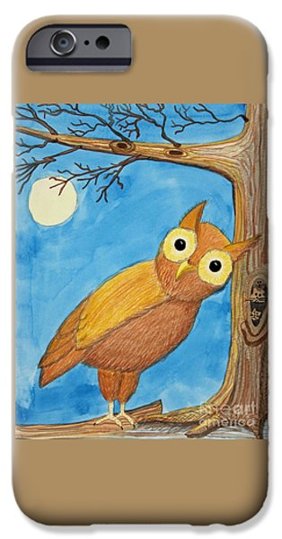 Appleton Art iPhone Cases - Owl and Moonlight iPhone Case by Norma Appleton