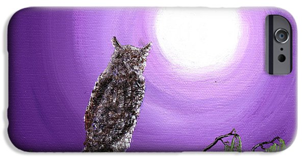 Pagan iPhone Cases - Owl on Mossy Branch iPhone Case by Laura Iverson