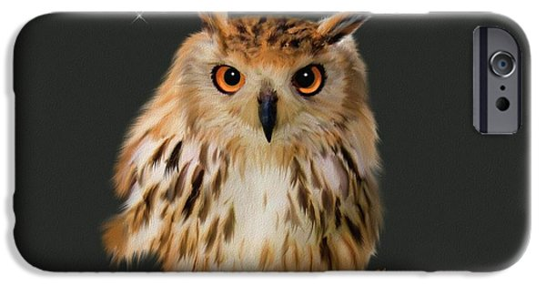 Time2paint iPhone Cases - Owl Portrait  iPhone Case by Michael Greenaway