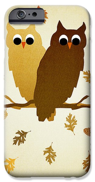 Nature Abstract iPhone Cases - Owls Pattern Aged iPhone Case by Christina Rollo
