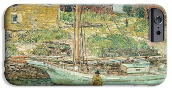 Hassam iPhone Cases - Oyster Sloop - Cos Cob iPhone Case by Childe Hassam