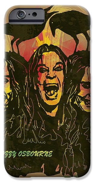 Sound Mixed Media iPhone Cases - Ozzy Osbourne Pop Stylised Art Poster iPhone Case by Kim Wang