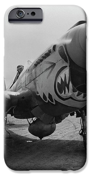 Fighters iPhone Cases - P-40 Warhawk iPhone Case by War Is Hell Store