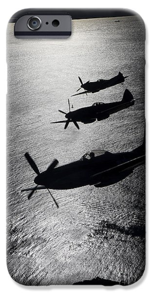 Flight iPhone Cases - P-51 Cavalier Mustang With Supermarine iPhone Case by Daniel Karlsson