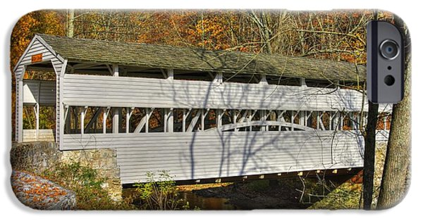 Covered Bridge iPhone Cases - PA Country Roads - Knox Covered Bridge Over Valley Creek No. 1C - Valley Forge Park Chester County iPhone Case by Michael Mazaika