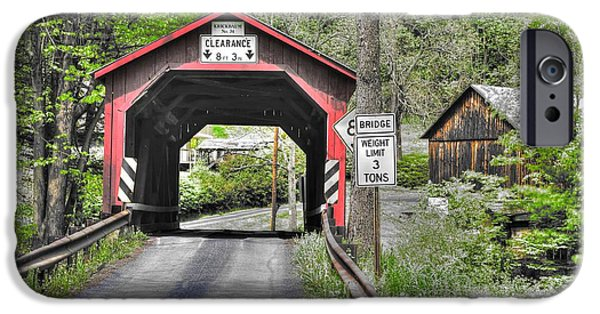 Grist Mill iPhone Cases - PA Country Roads - Krickbaum Covered Bridge Over Roaring Creek No. 15B-Alt - Columbia County iPhone Case by Michael Mazaika