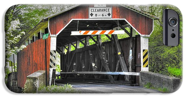 Creek iPhone Cases - PA Country Roads - Richards Covered Bridge Over Roaring Creek No. 1B-Alt - Columbia County iPhone Case by Michael Mazaika