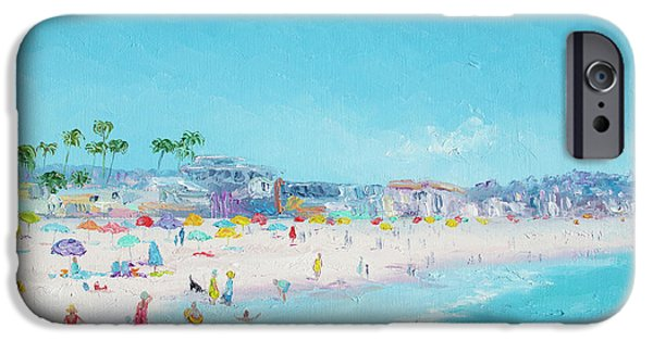 Park Scene Paintings iPhone Cases - Pacific Beach in San Diego iPhone Case by Jan Matson