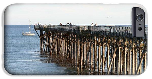 Sailboat Ocean iPhone Cases - Pacific Coast California Pier and Sailboat iPhone Case by Sara Srubar-Erb