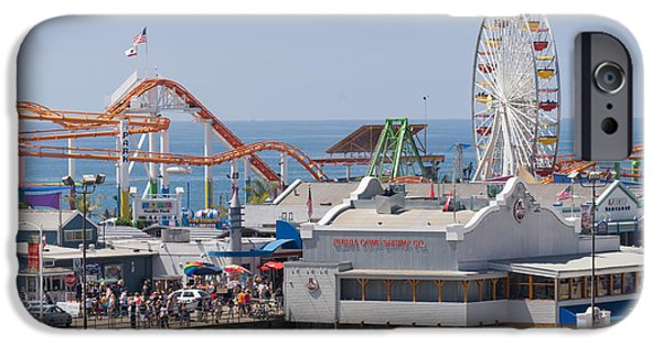 Rollercoaster Photographs iPhone Cases - Pacific Park at Santa Monica Pier in Santa Monica California DSC3648 iPhone Case by Wingsdomain Art and Photography