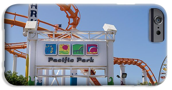 Rollercoaster Photographs iPhone Cases - Pacific Park at Santa Monica Pier in Santa Monica California DSC3676 iPhone Case by Wingsdomain Art and Photography