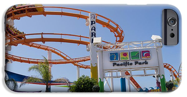Rollercoaster Photographs iPhone Cases - Pacific Park at Santa Monica Pier in Santa Monica California DSC3678 iPhone Case by Wingsdomain Art and Photography