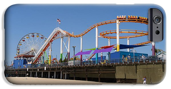 Rollercoaster Photographs iPhone Cases - Pacific Park at Santa Monica Pier in Santa Monica California DSC3688 iPhone Case by Wingsdomain Art and Photography