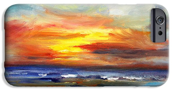 Beach Landscape iPhone Cases - Pacific Sunset Glow iPhone Case by Nancy Merkle