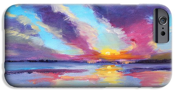 Beach Landscape iPhone Cases - Pacific Sunset iPhone Case by Nancy Merkle
