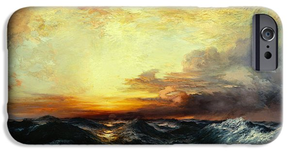 River View Paintings iPhone Cases - Pacific Sunset iPhone Case by Thomas Moran