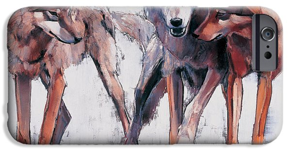Recently Sold -  - Nature Study Paintings iPhone Cases - Pack Leaders iPhone Case by Mark Adlington