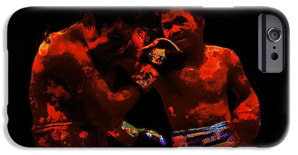 Champ Boxer iPhone Cases - Pacquiao Putting in Work iPhone Case by Brian Reaves