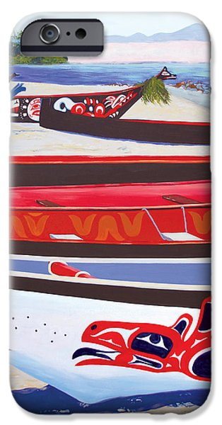 Recently Sold -  - Nation iPhone Cases - Paddle In First Nations at Neah Bay iPhone Case by Marcie Ann Long