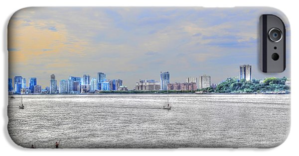 Hudson River iPhone Cases - Paddleboarding at Dusk on the Hudson River iPhone Case by Randy Aveille
