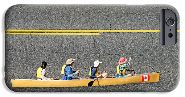 Torn iPhone Cases - Paddling in the fast lane iPhone Case by Les Palenik