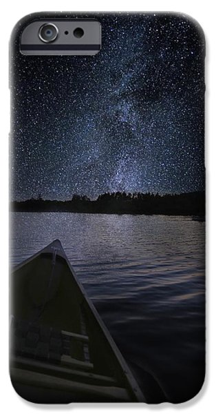 Recently Sold -  - Maine iPhone Cases - Paddling the Milky Way iPhone Case by John Meader