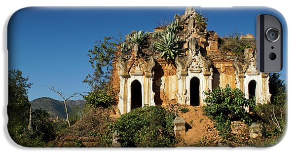 Historic Ruins iPhone Cases - Pagoda in Ruins iPhone Case by Michele Burgess