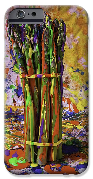 Mess iPhone Cases - Painted Asparagus iPhone Case by Garry Gay