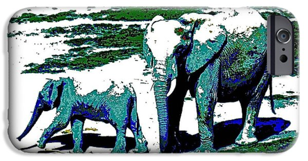 Elephants iPhone Cases - Painted Elephants iPhone Case by Kristalin Davis
