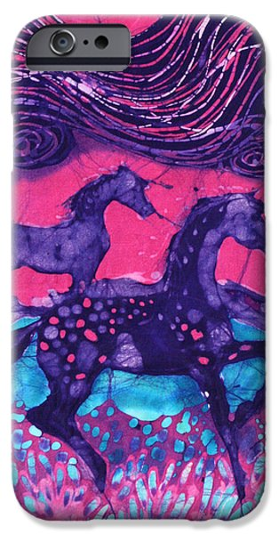 Horse Tapestries - Textiles iPhone Cases - Painted Horses Below the Wind iPhone Case by Carol  Law Conklin