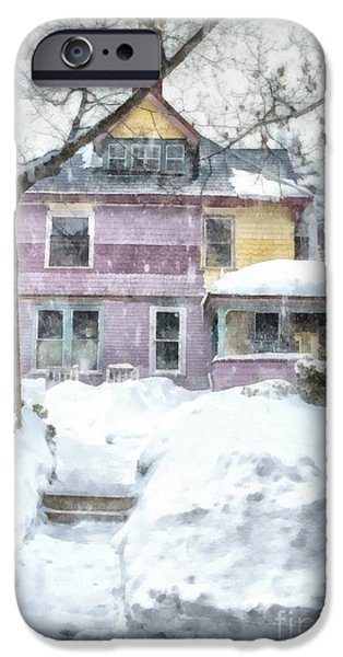 Winter Storm iPhone Cases - Painted Lady Snowstorm iPhone Case by Edward Fielding