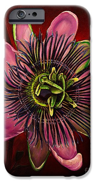 Tropical Paintings iPhone Cases - Painted Passion flower iPhone Case by Zina Stromberg