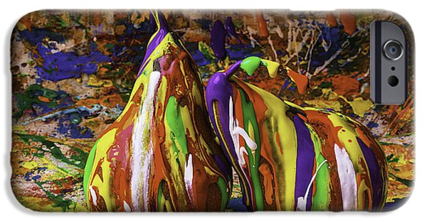 Mess iPhone Cases - Painted Pears iPhone Case by Garry Gay