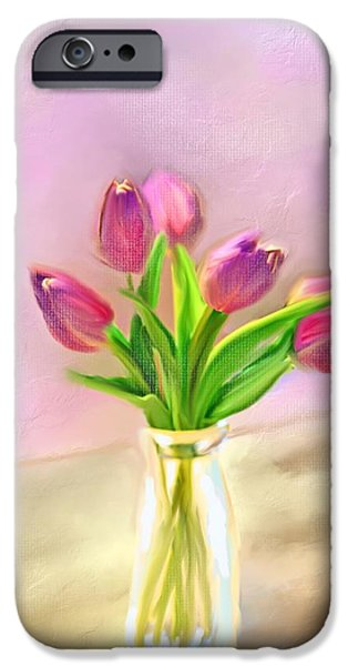 Old Digital Art iPhone Cases - Painted Tulips iPhone Case by Mary Timman