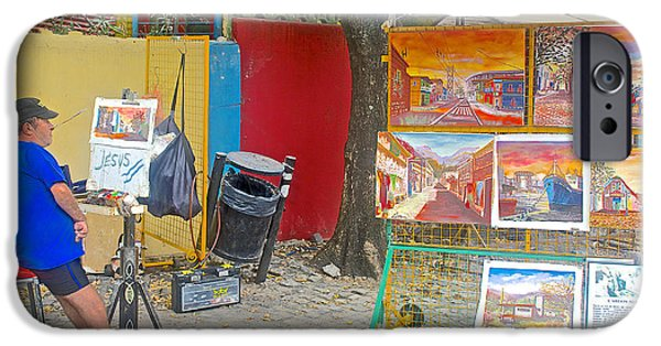 Painter Photographs iPhone Cases - Painter Without Hands in La Boca Barrio of Buenos Aires-Argentina  iPhone Case by Ruth Hager