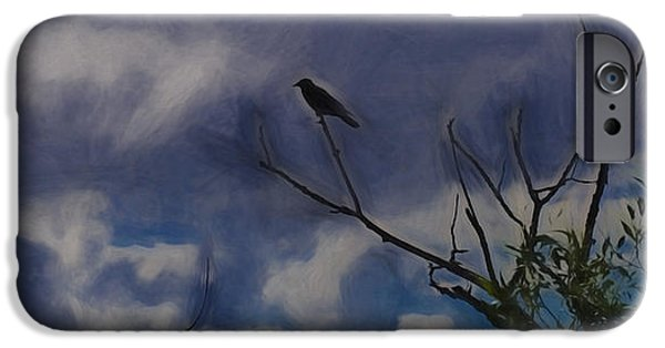 Crows iPhone Cases - painterly Crow sky iPhone Case by Leif Sohlman
