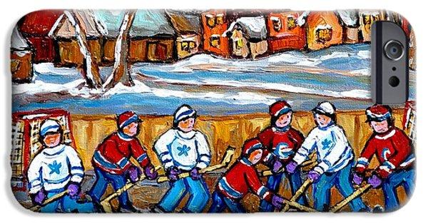 Hockey Paintings iPhone Cases - Painting Hockey Art Hockey Sticks Hockey Goalies Best Original Hockey Art  iPhone Case by Carole Spandau