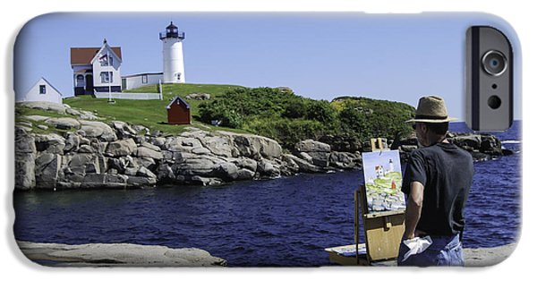 Nubble Lighthouse iPhone Cases - Painting Nubble iPhone Case by Phyllis Taylor