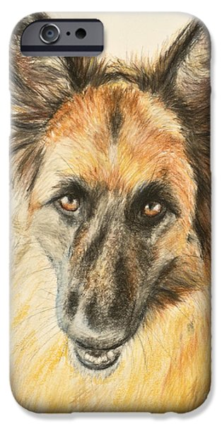 Police Pastels iPhone Cases - Painting of a German Shepherd iPhone Case by Kate Sumners