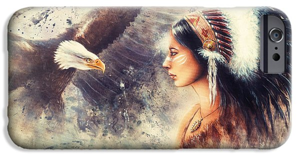 Native American Spirit Portrait iPhone Cases - Painting Of A Young Indian Woman Wearing A Gorgeous Feather Headdress. With An Image  Eagle Spirits  iPhone Case by Jozef Klopacka