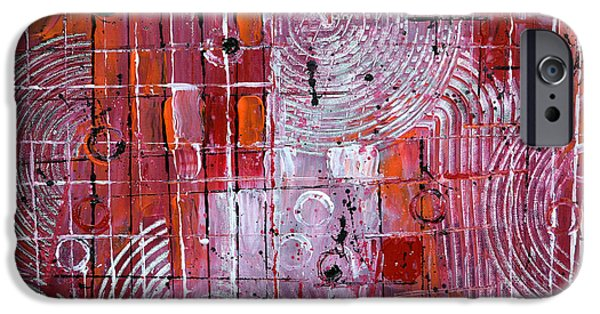 Contemporary Abstract iPhone Cases - Painting The Town Red iPhone Case by James Pinkerton