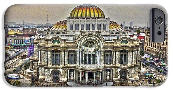 Rainy Day iPhone Cases - Palacio de Bellas Artes HDR 3 iPhone Case by Totto Ponce