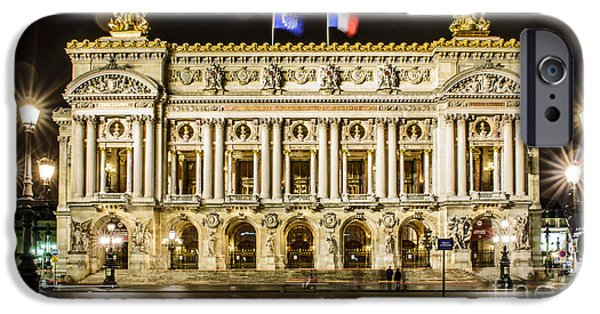 Night Lamp iPhone Cases - Palais Garnier iPhone Case by World Art Photography