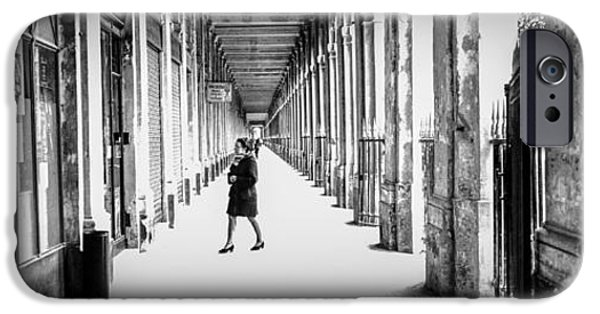 Monotone Pyrography iPhone Cases - Palais Royal Arcade  -Paris. iPhone Case by Cyril Jayant