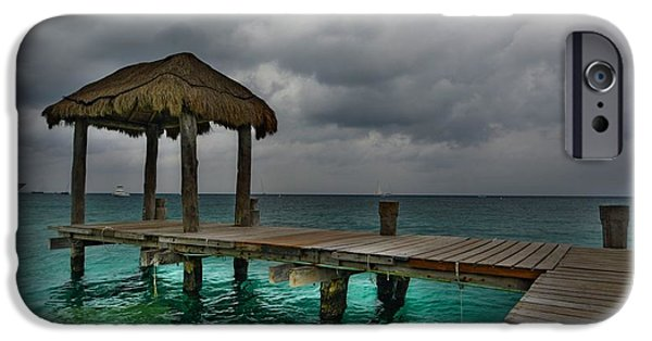 Storm iPhone Cases - Palapa Time In Cozumel 2 iPhone Case by Berta Keeney