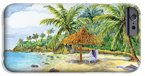 Beach Towel iPhone Cases - Palappa n Adirondack Chairs on a Caribbean Beach iPhone Case by Audrey Jeanne Roberts