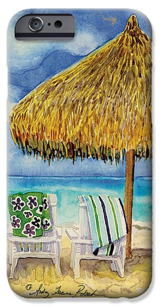 Umbrella Mixed Media iPhone Cases - Palappa n Adirondack Chairs on the Mexican Shore iPhone Case by Audrey Jeanne Roberts