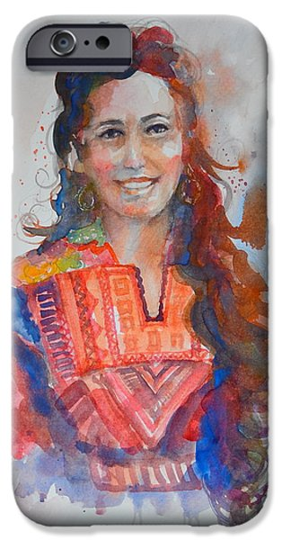 Jordan iPhone Cases - Palestinian Lady in Traditional Dress iPhone Case by Arnel Sarmiento