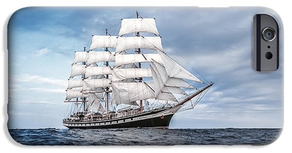 Sailboat Ocean iPhone Cases - Pallada Full-rigged ship  iPhone Case by Maslyaev Yury