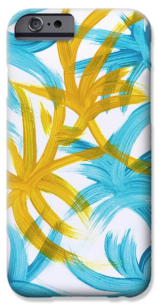 Blue Abstracts iPhone Cases - Palm Island Abstract iPhone Case by Christina Rollo